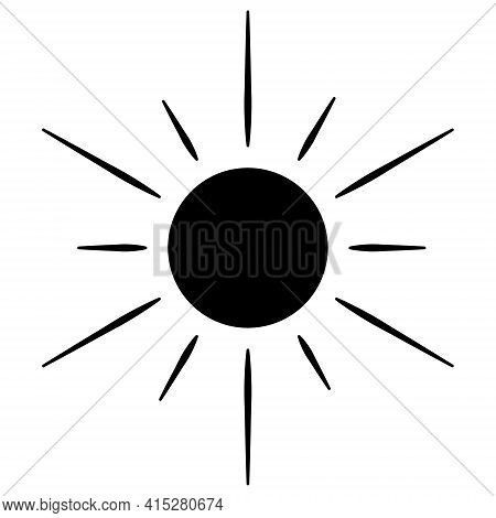 The Sun. Silhouette. Heavenly Luminary. Vector Illustration. Ultra-violet Rays. Weather Forecast. Da