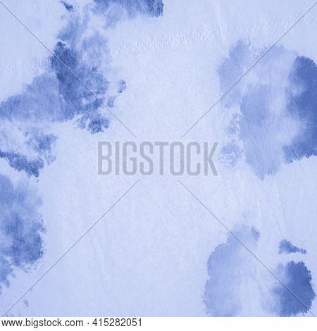 Aquarel Paint Stain Drawing. Indigo Denim Shibori Print. Paintbrush Surface. Watercolor Paint Splatt