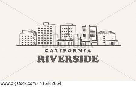 Riverside Skyline, California Drawn Sketch Usa America