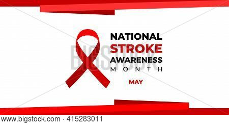 National Stroke Awareness Month. Vector Web Banner For Social Media, Poster, Card, Flyer. Text Natio