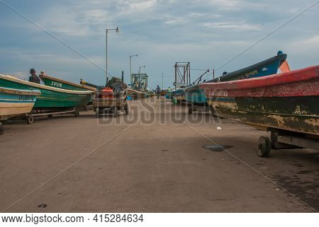 La Libertad, El Salvador. 11-18-2019. Beautiful Scene Of The Port Of La Libertad With Old Boats Used