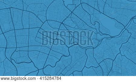 Blue Vector Background Map, Amman City Area Streets And Water Cartography Illustration. Widescreen P
