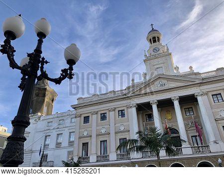 Cadiz, Andalucia, Spain - December 25, 2019: Cadiz City Hall On The Square San Juan De Dios