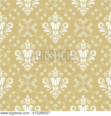 Classic Seamless Pattern. Damask Orient Ornament. Classic Vintage Yellow And White Background. Orien