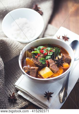 Vietnamese Beef Stew With Potatoes A White Bowl