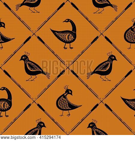 Stylized Bird And Diagonal Grid Seamless Vector Pattern Background. Folk Art Or Baroque Style Mix Of