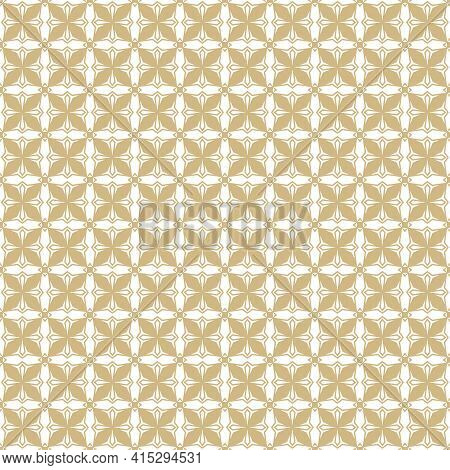 Golden Geometric Ornament Pattern. Gold And White Vector Seamless Texture With Small Flower Silhouet