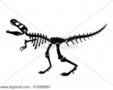 Illustration Of A Black Silhouette Of A T Rex Dinosaur Skeleton. Bones Of Prehistoric Creatures Isol