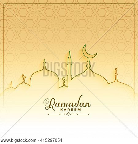 Islamic Ramadan Kareem Line Style Greeting Design