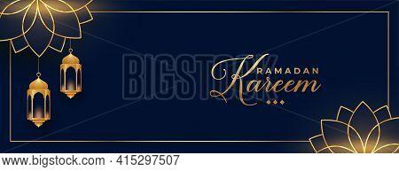 Ramadan Kareem Or Eid Mubarak Golden Banner Design