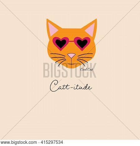 Cool Orange Cat With Heart Sunglasses On Tan Background Repeat Seamless Pattern Design