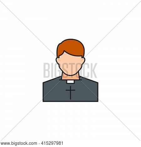 Catholic Priest Vector Icon. Pastor Wearing Priestly Robes.