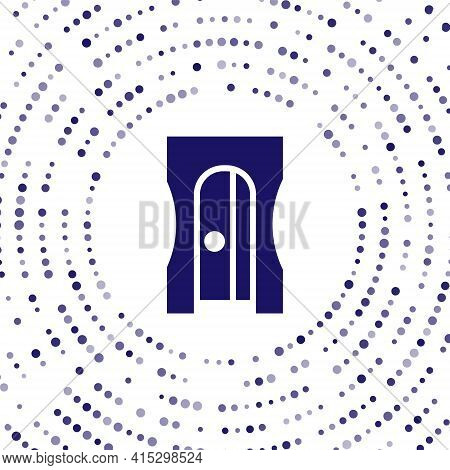 Blue Pencil Sharpener Icon Isolated On White Background. Abstract Circle Random Dots. Vector Illustr