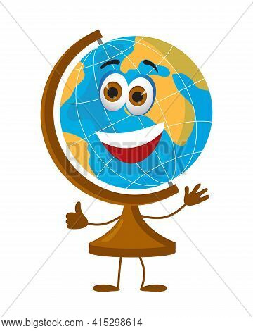 Funny School Globe With Eyes On White Background, Flat Design Vector Illustration