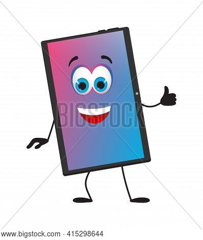 Funny Tablet Pc With Eyes On White Background, Flat Design Vector Illustration