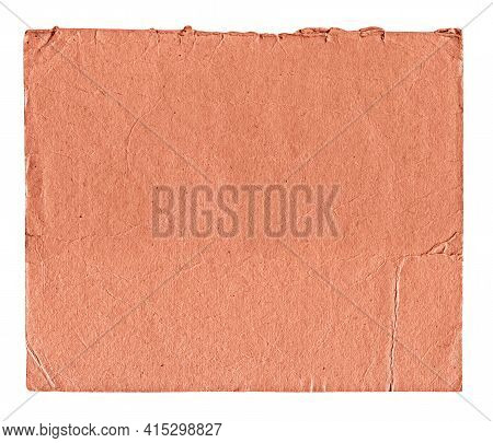 Obsolete Crumpled Textured Red Paper Isolated On White