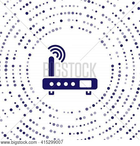 Blue Router And Wi-fi Signal Icon Isolated On White Background. Wireless Ethernet Modem Router. Comp