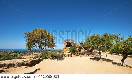 Ruins Of Ancient Protective Wall Of Akragas Town.valley Of Temples, Agrigento, Sicily Island In Sout
