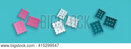 Paper Cut Cracker Biscuit Icon Isolated On Blue Background. Sweet Cookie. Paper Art Style. Vector Il