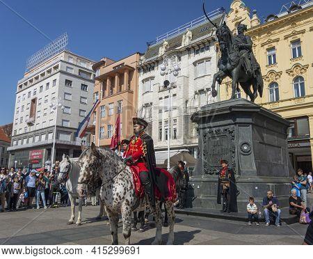 Zagreb, Croatia, September 2016 - Horseback Commander Of The Royal Cravat Regiment At The Changing O