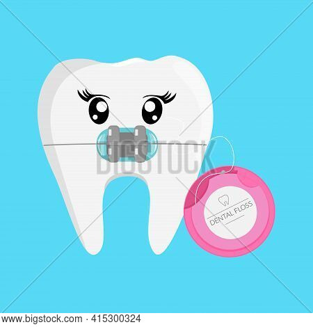 Cartoon Tooth. Dental Care For Braces, Oral Hygiene With Floss. Vector Illustration.