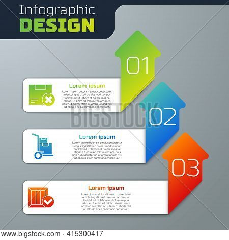 Set Carton Cardboard Box And Delete, Hand Truck And Boxes And Wooden Box With Check Mark. Business I