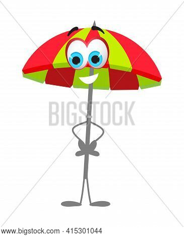 Funny Beach Umbrella With Eyes - Summer Things Collection. Cartoon Funny Characters, Flat Vector Ill