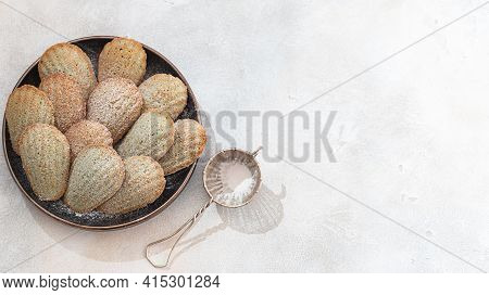 Freshly Baked French Madeleine Cookies. Homemade Traditional French Small Cookie.