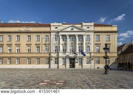 Zagreb, Croatia, September 2016 - Croatian Parliament Palace Building In St Mark's Square, Zagreb, C