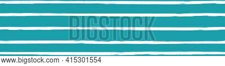 Modern Paint Brush Striped Vector Seamless Border. Aqua Blue White Banner With Varying Horizontal Ha