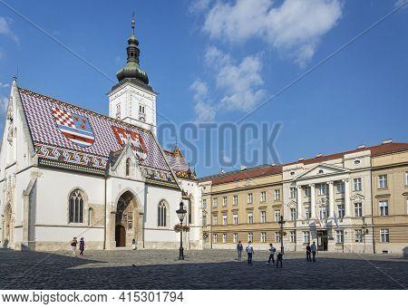 Zagreb, Croatia, September 2016 - St Mark\'s Church In The City Of Zagreb, Croatia
