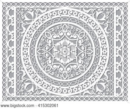 Openwork Vector Mandala Design In Ractanle Inspired By The Oriental Carved Wood Wall Art Patterns Fr