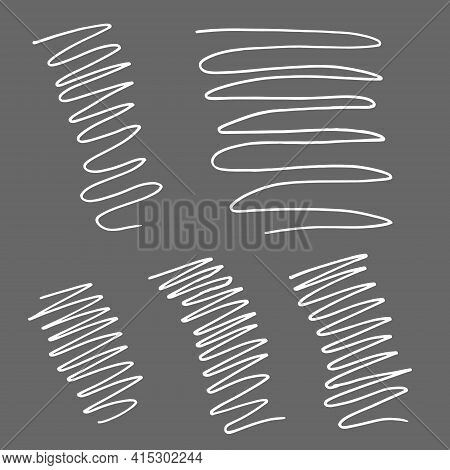 Curls Texture. Drawn By Hand With Pen And Ink. Isolated On Gray Background, Vector Illustration. Can