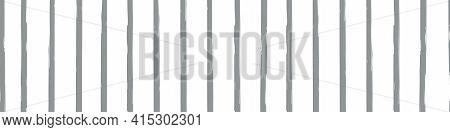 Modern Paint Brush Striped Vector Seamless Border. Grey White Banner With Varying Vertical Handmade