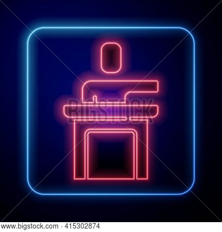Glowing Neon Speaker Icon Isolated On Blue Background. Orator Speaking From Tribune. Public Speech.