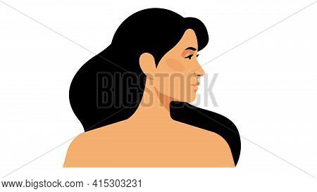 Bright Beautiful Woman With Long Hair, Perfect Skin. Beautiful, Young Woman, Side View. Head And Sho