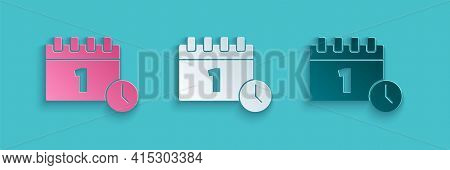 Paper Cut Calendar With First September Date Icon Isolated On Blue Background. September 1. Date And