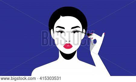 Beautiful Woman Paints Eyelashes. Abstract Young Beautiful Girl And Makeup. Mascara. Bright Flat Vec