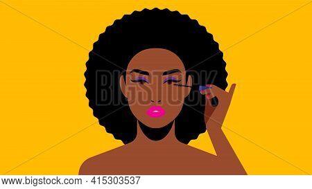 Beautiful Black Woman Paints Eyelashes. Bright Beautiful Makeup Artist. Black Mascara. Modern Vector
