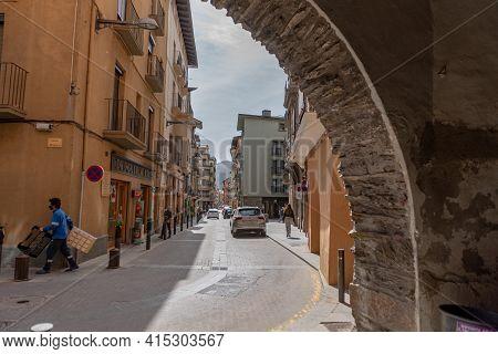 La Seu D Urgell, Catalonia - 2021 April 3: View Of Catalan Town In April 3 In La Seu D Urgell, Catal
