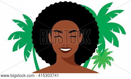 Portrait Of Beautiful Woman On The Background Of Palm Trees. The Young Beauty Smiles. The Concept Of
