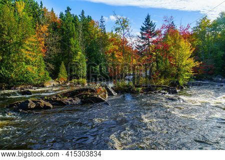 View Of The Croches Waterfall, In Mont Tremblant National Park, Quebec, Canada
