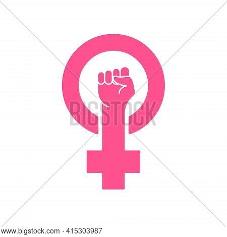 Feminism Protest Symbol. Pink Female First, Women Rights. Symbol Of Feminism Movement. Girl Power Si