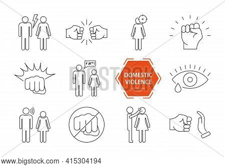 Domestic Violence Icons Set. Domestic Abuse Line Icons. Set Of Family Violence And Discrimination Wo