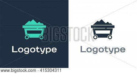 Logotype Coal Mine Trolley Icon Isolated On White Background. Factory Coal Mine Trolley. Logo Design