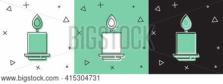 Set Burning Candle Icon Isolated On White And Green, Black Background. Cylindrical Aromatic Candle S