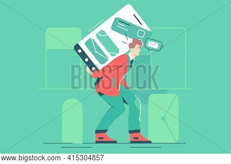 Guy Carrying Phone With Messages Vector Illustration. Man Carry Smartphone With Income Emails On Scr