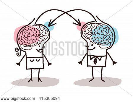 Hand Drawn Big Brain Couple Exchanging Ideas