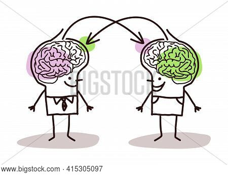 Hand Drawn Big Brain Men Exchanging Ideas