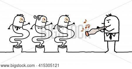 Hand Drawn Cartoon Businessman Charming People With A Flute